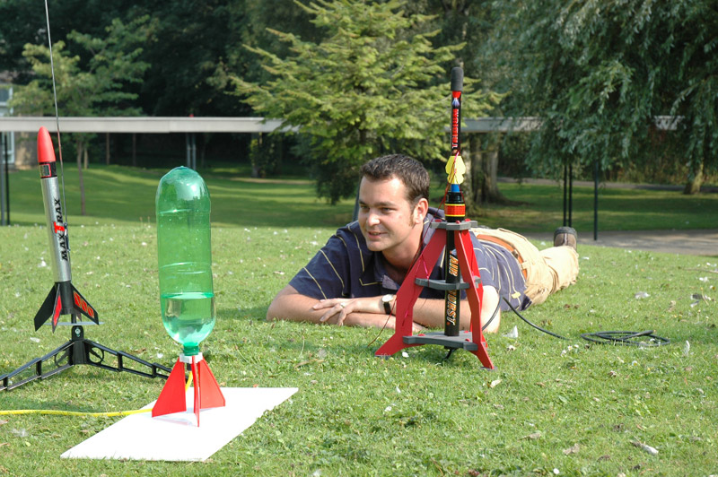 Image: Dr David Jenkins with a rocket at the University of York Physics Fun Day, August 2005