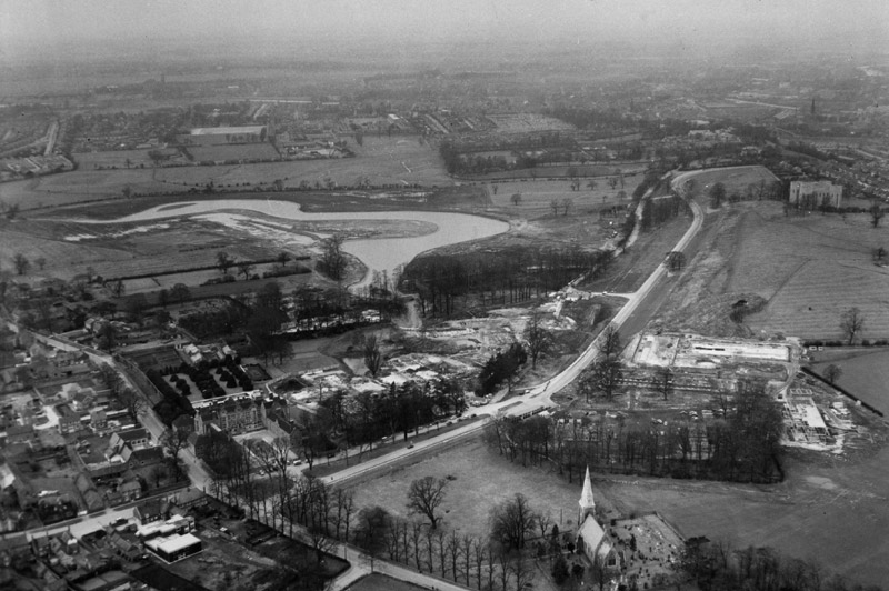 Image: Aerial view of the campus under construction, 1960s