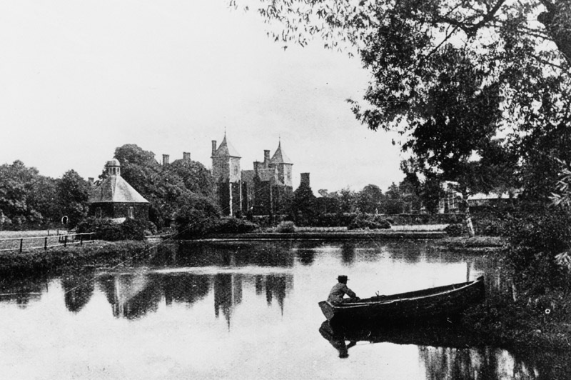 Image: Heslington Hall viewed across lake, mid 19th century