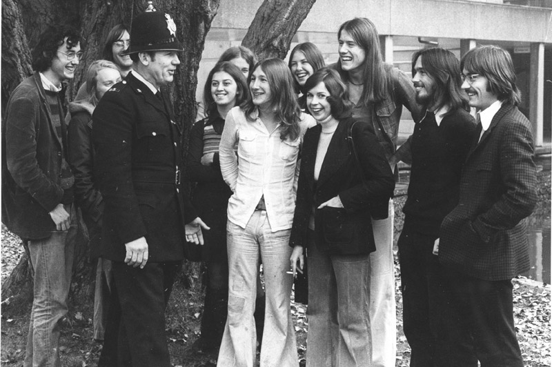 Image: Students with the police, 1970s