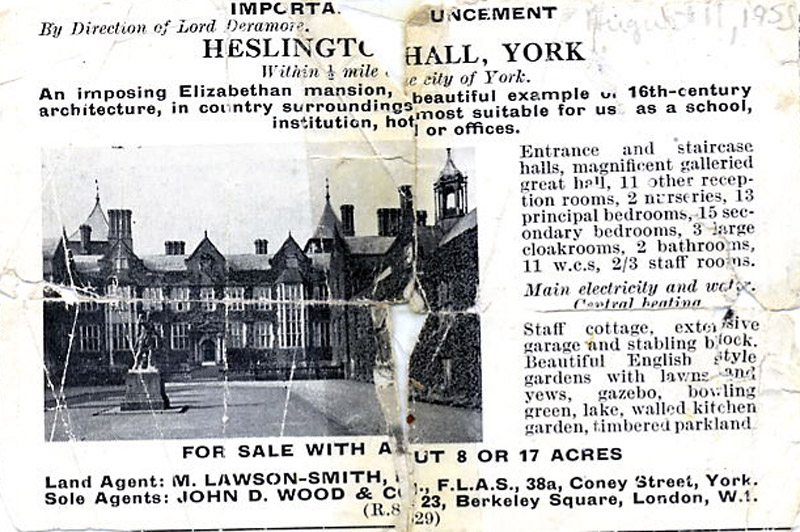 Image: Heslington Hall: for sale