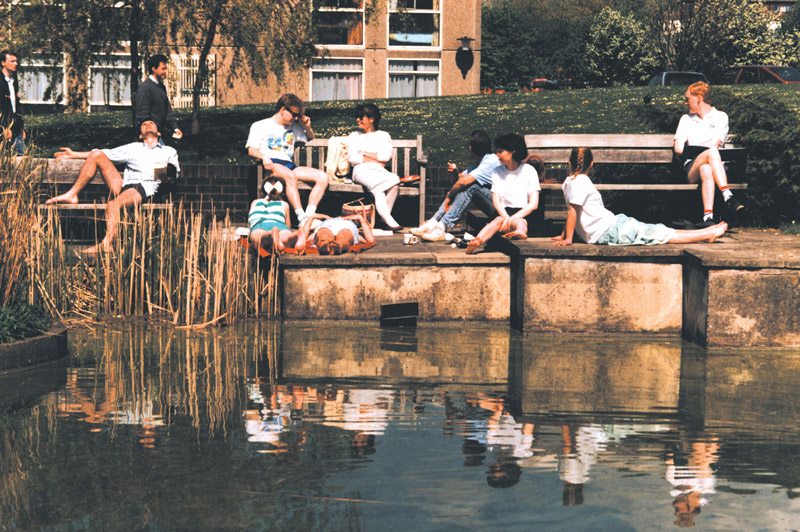 Image: Students relaxing by the lake