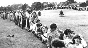 Human dominoes, a (brief) world record at the 1981 Summer Spectacular
