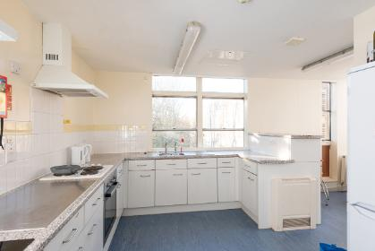 A band 2 shared bathroom kitchen in Derwent College.