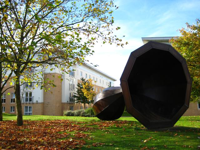 Image: 'Beyond and within' by Joanna Mowbray (1995), in front of Wentworth College