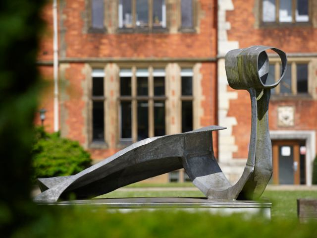Image: 'Dryad' by Austin Wright (1984), between Heslington Hall and the Quiet Place