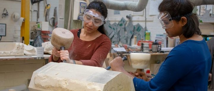 Students stoneworking
