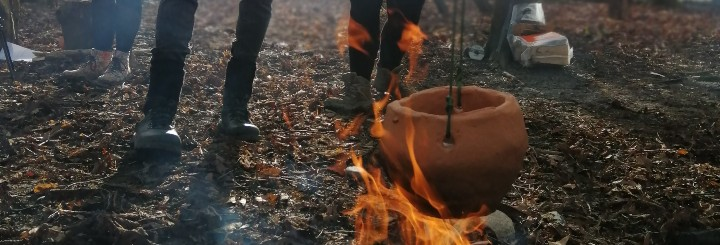 A pot over an open fire