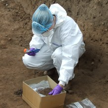 DNA sampling of human remains at Hes East 2009 CN