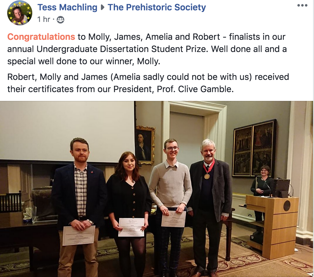 Screen shot of Molly Hardman winning a prize for her dissertation