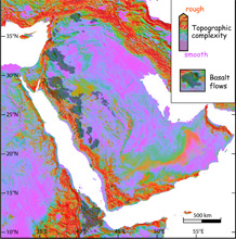 Map of the Arabian Peninsula and adjacent regions showing roughness and basalt lavas