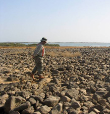 Geoff King on the Al Birk Lava field and stone age site,, Saudi Arabia