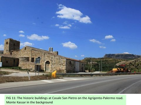 FIG 11: The historic building cluster around the church at Casale San Pietro on the Agrigento-Palermo road with Monte Kassar in the background