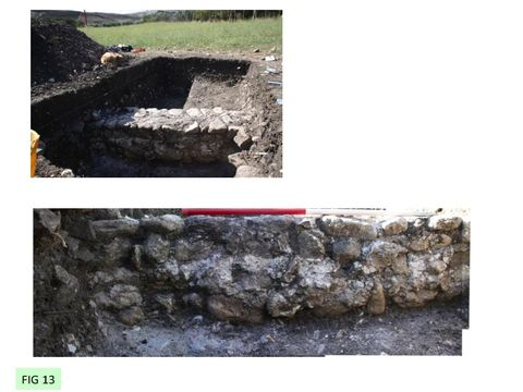 FIG 13: Casale San Pietro. The fields around the church were severely disturbed by ploughing, truncating the stone buildings. This wall of a Byzantine (6/7th century) building was reduced to its foundations.