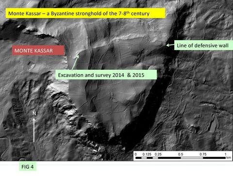 FIG 4: DTM of Monte Kassar showing area of excavation and survey 2014 and 2015