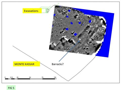 FIG 5: Monte Kassar: Geophysical survey by Helen Goodchild, University of York, showing possible barrack blocks