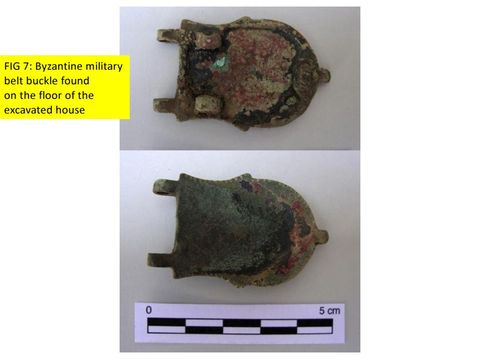 FIG 7: Monte Kassar: Byzantine military belt buckle, refurbished, found on the floor of the house