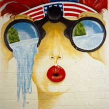 Wall art, from an American Cold War airbase in southern England.