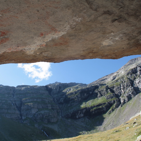 The cave art site at Faravel in the Ecrins, French Alps