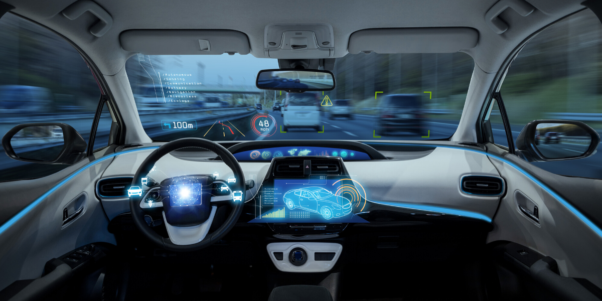 An illustration of the inside of an autonomous vehicle