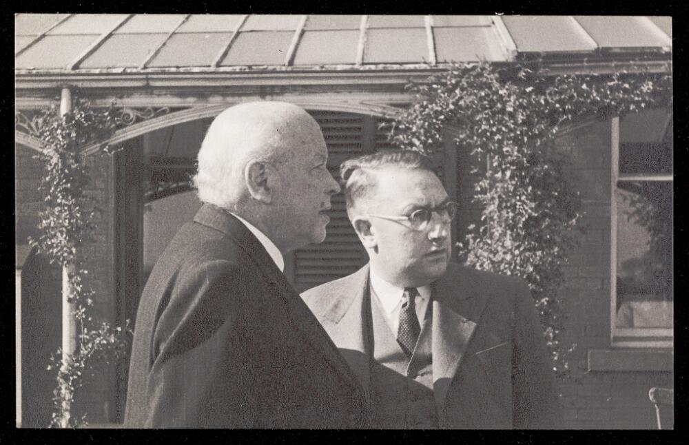 Photograph of Arnold S. Rowntree with Dr Arthur Pool, Retreat Physician Superintendent, 1946.