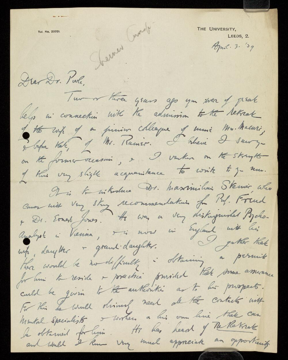 Letter from John W. Harvey, University of Leeds to Dr. Arthur Pool concerning Dr. Maxim Steiner, April 1939.