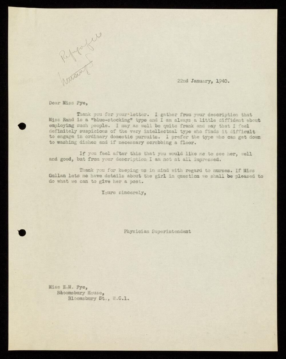 Letter from Dr. Arthur Pool to Miss Pye, Nursing and Midwifery Department of the Central Office for Refugees, concerning Rose Rand, January 1940.