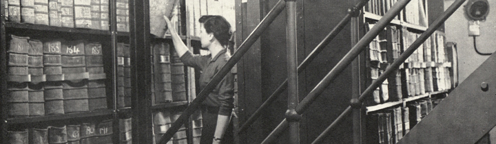 Norah Gurney in the Borthwick strongroom