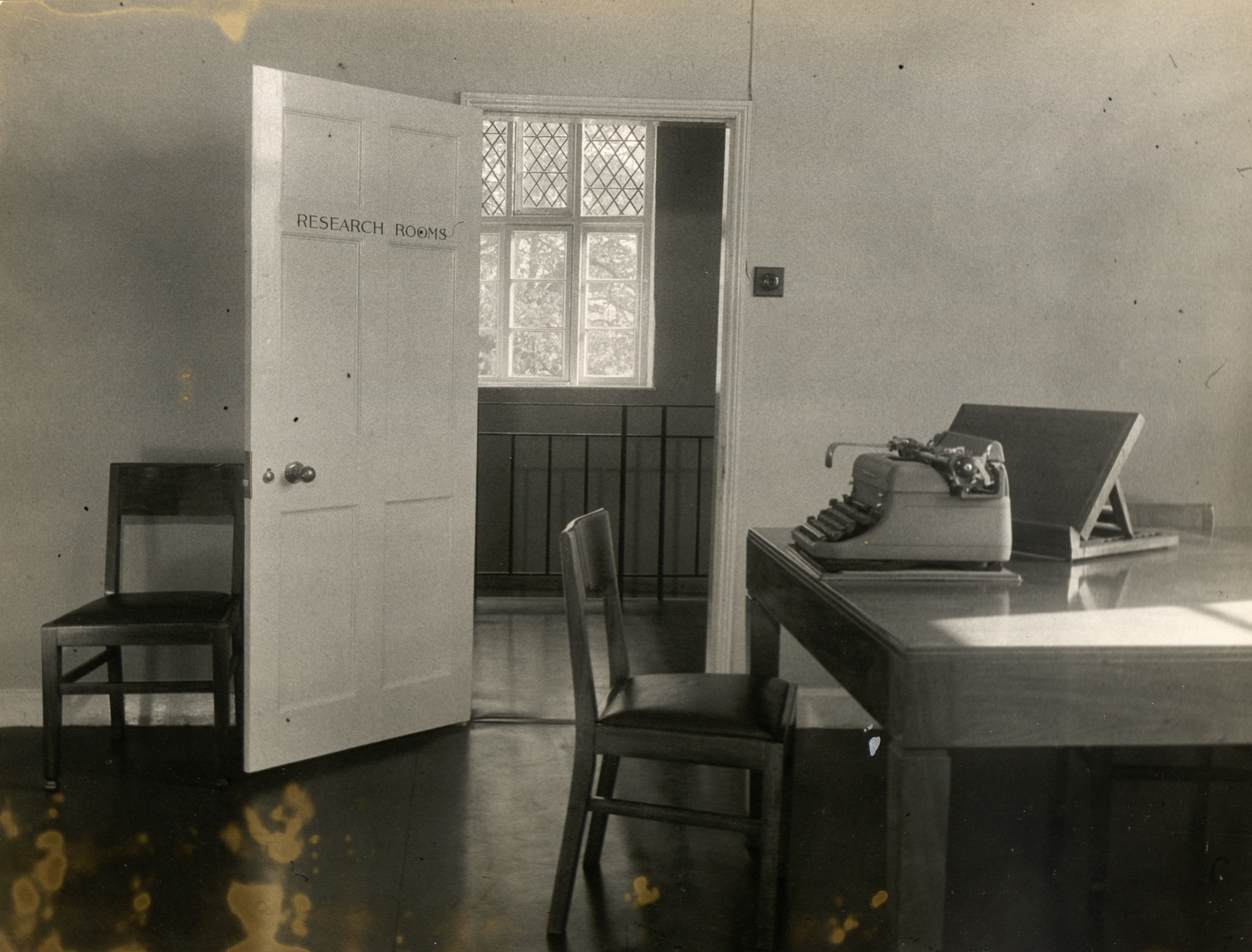 The searchroom office, waiting to open, 1953