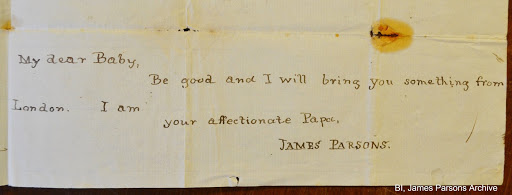 Letter from James Parsons to his wife Mary