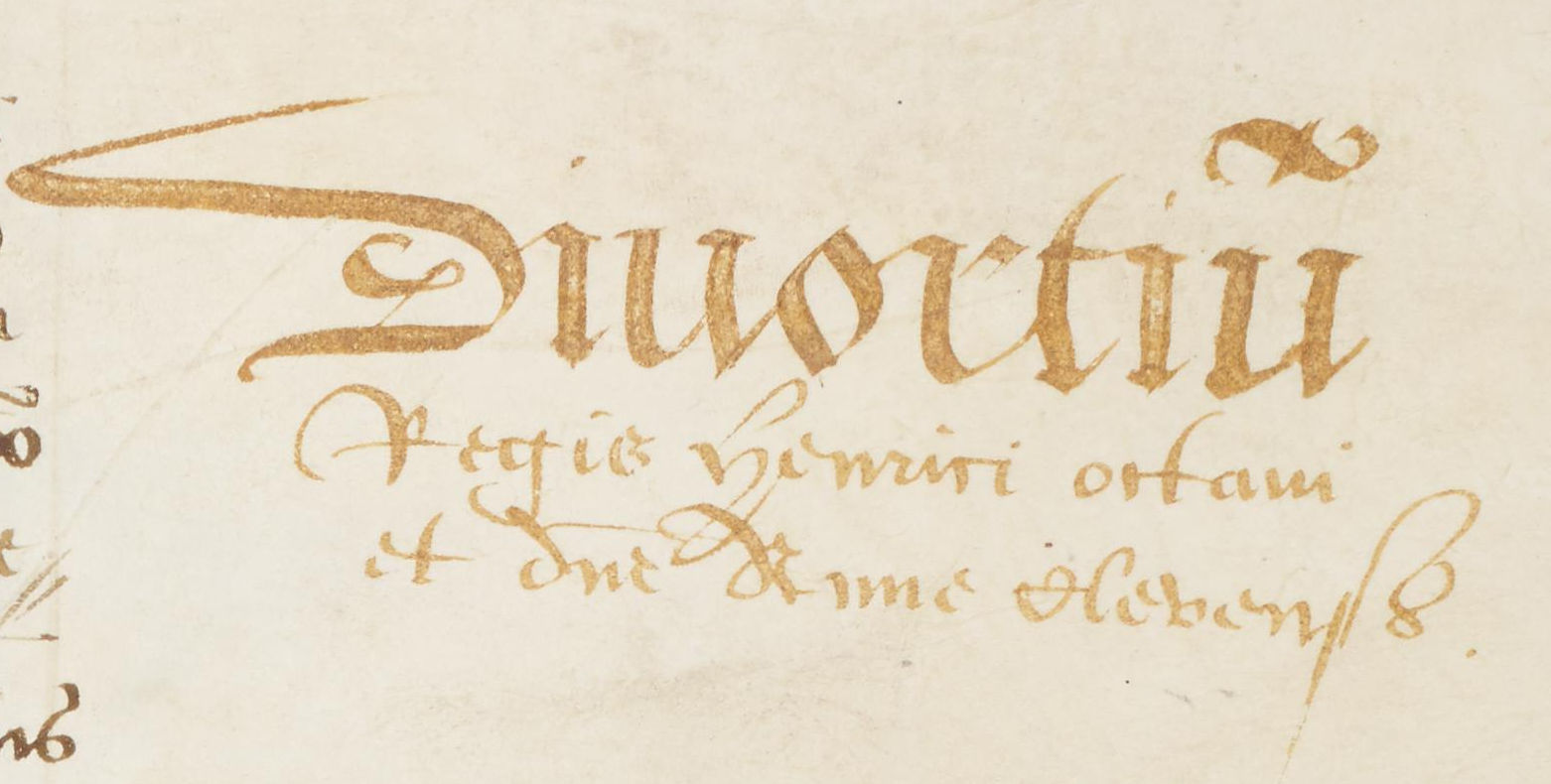 Abp.Reg.28: Close up of margin stating 'Divortiu(m) Regis Henrici octaui et d(omi)ne Anne Clevensis'