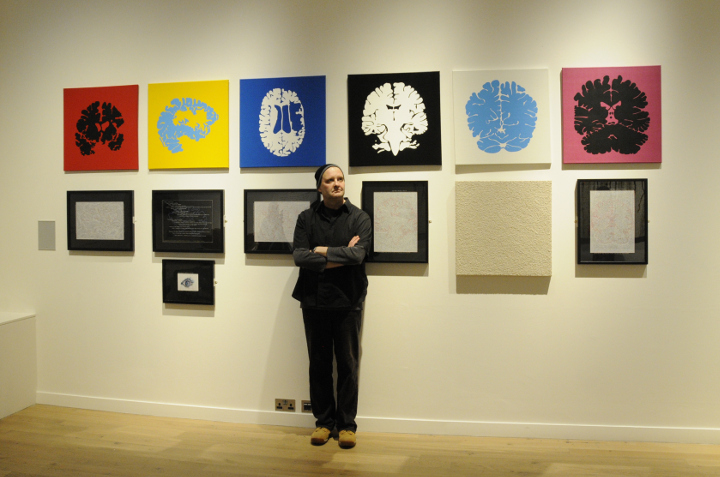 The artist Peter Myers in front his work in York Art Gallery
