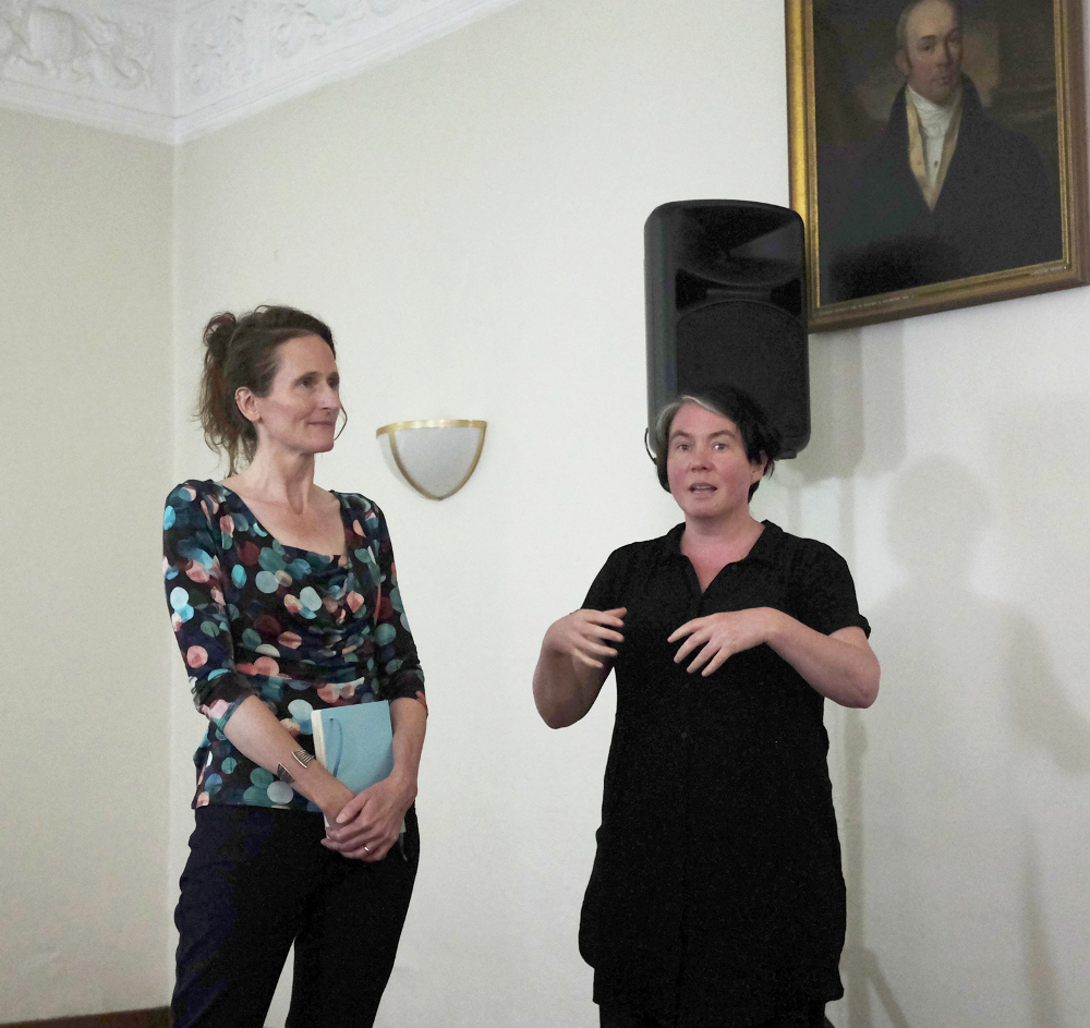 Image: Christy Ducker and Kate Sweeney presenting their work