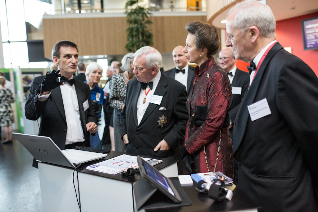 Image: Dr Stephen Smith presents his work on a new toolkit for the monitoring of Parkinson's Disease to HRH the Princess Royal during the Royal Academy of Engineering Soiree event held at the University of York, 27 June 2013.