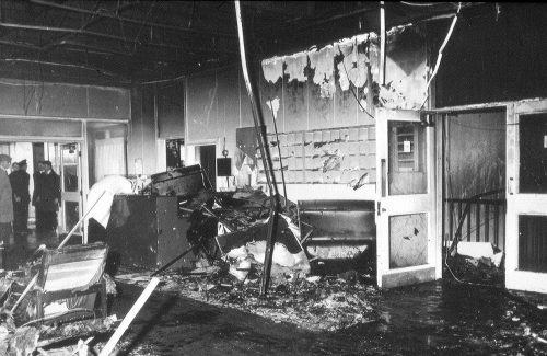 Image: A-Block Foyer, Fire May 1980