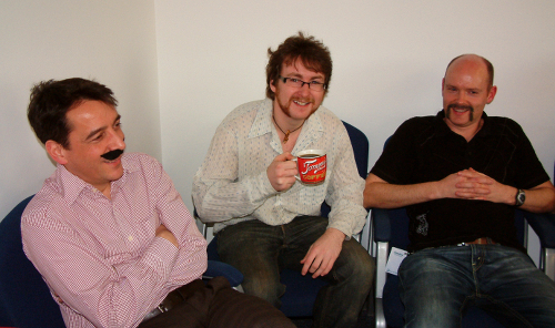 Image: Comparing moustaches in Movember raising money for prostate cancer research