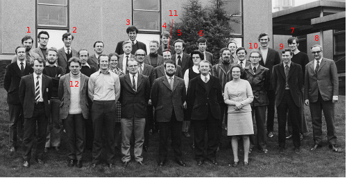 Image: MSc for School Teachers 1 Barry Thomas 2 David Waddington, 3 Roger Mawby, 4 Tony Semlyen, 5 John Lazonby, 6 Bruce Gilbert, 7 Geoff Penzer, 8 Richard Norman, 9 John Garrett, 10 David Rowe, 11 John Littlewood, 12 Brian Sutcliffe