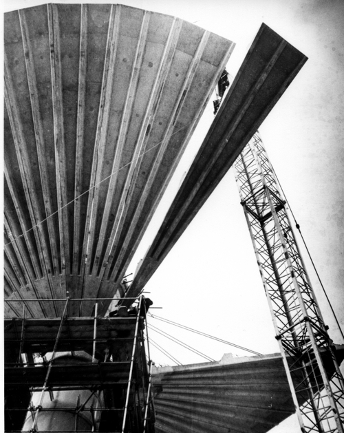 Image: Craning one of the petals into position during construction of the water tower