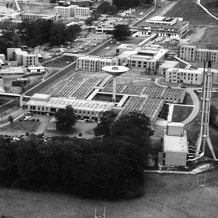Black and White Aerial view of the Chemistry Department in the 1970s