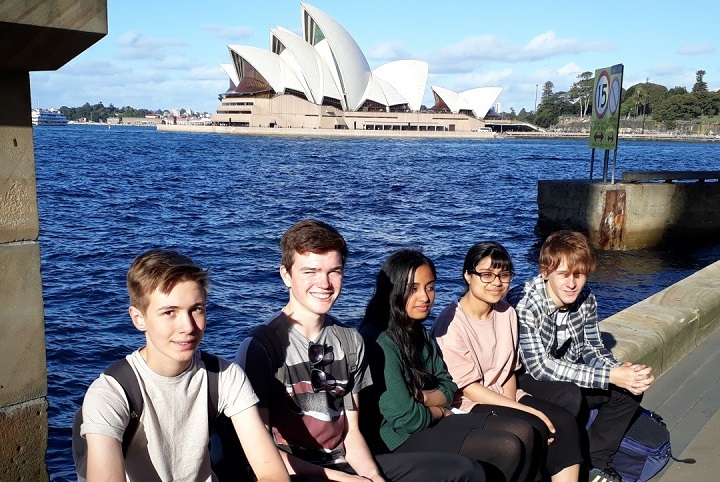 The UK ISS scholars enjoy some winter sunshine by Sydney Harbour (l:r Jack Saville, Ocean Bach, Aamna Irfan, Farihaa Motala and Benedict Yorston)