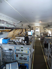Inside the converted BAe146 aircraft used to measure airborne emissions