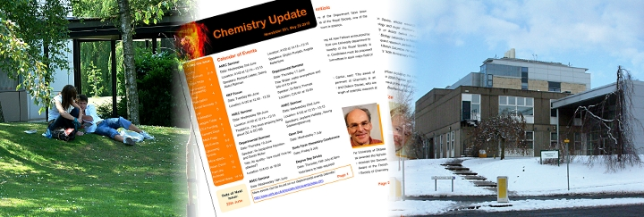 Banner showing students relaxing in the chemistry quad, an issue of Chemistry Update and a view of the department