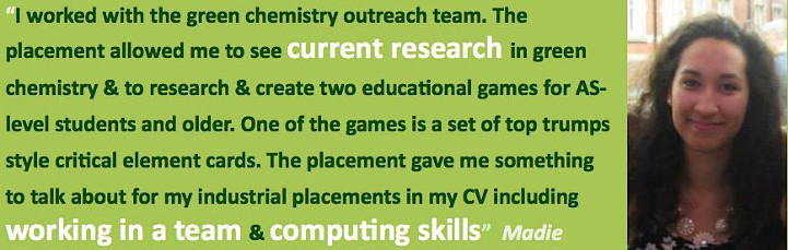 Student quote about working with the Green Chemistry Outreach Team
