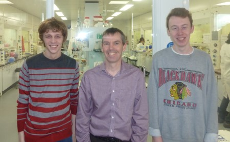 Peter with MChem students Tom and Freddy