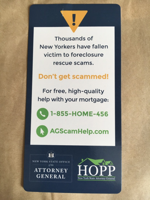 Housing in the US - foreclosure leaflet