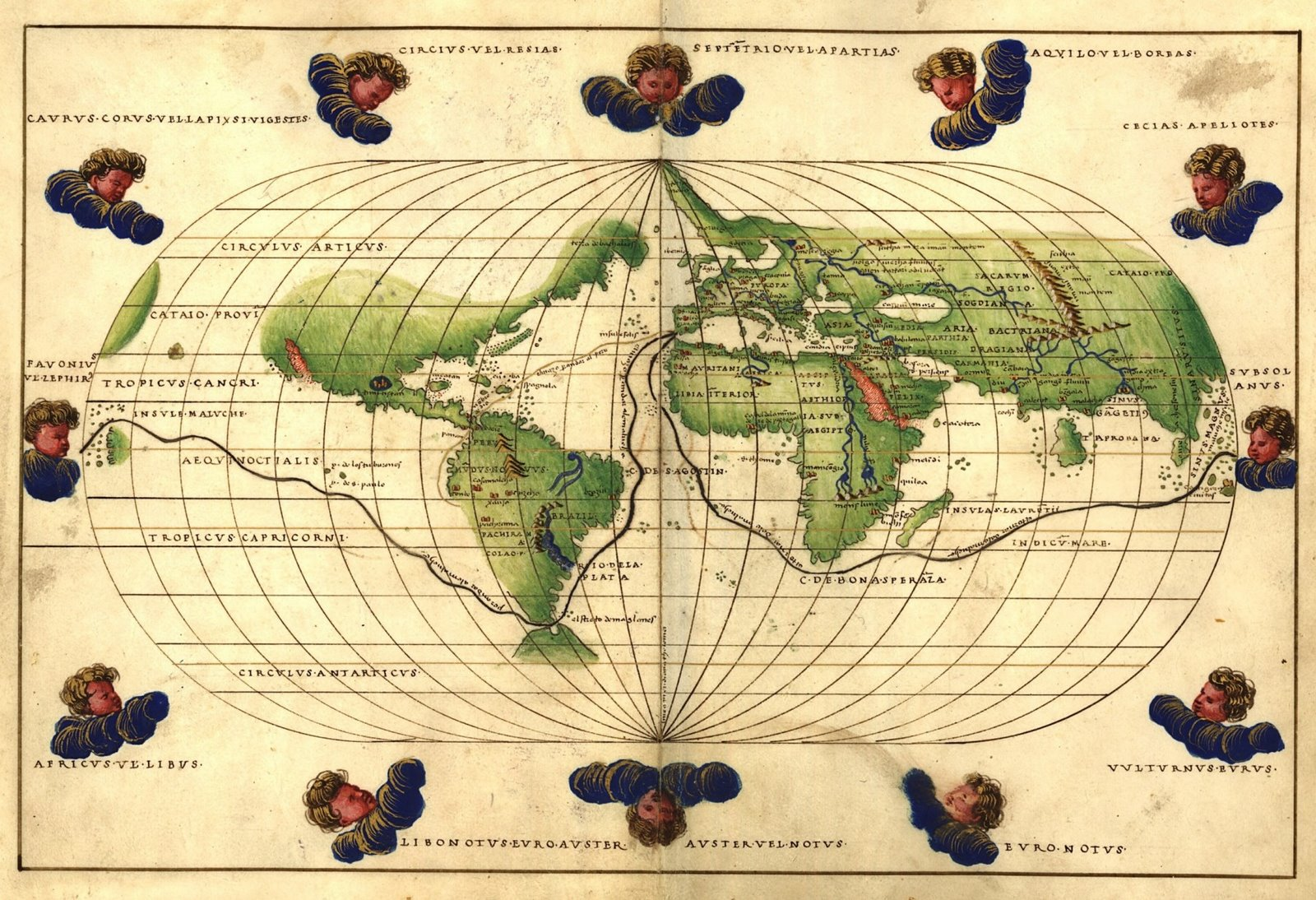 Agnese world map, 1544