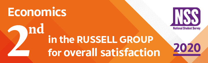 Economics - second in the Russell Group for overall satisfaction in the National Student Survey 2020
