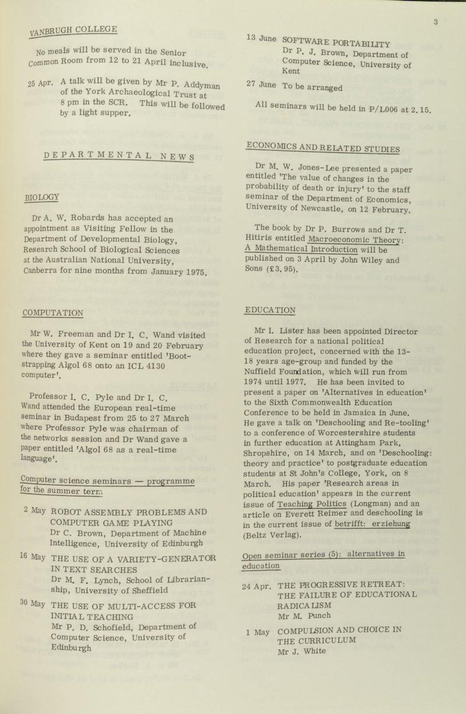 1970s Documents - Education, The University of York