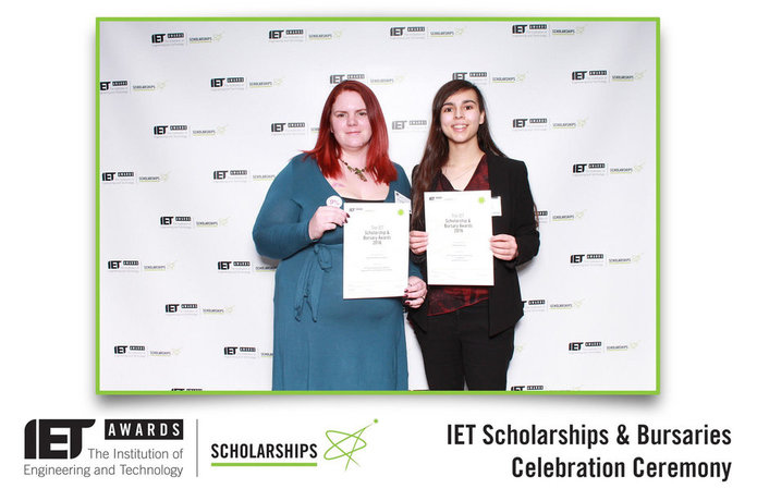 Heather Robinson and Layla Graham at the IET Scholarships and Bursaries Celebration Ceremony in London on 15 February 2017