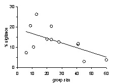 Graph showing vigilance v group size in impala